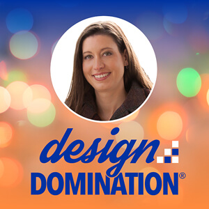 head shot of Colleen with the words design domination below her photo